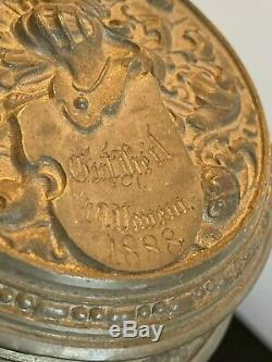 Antique Large 1 Liter GERMAN Beer Stein Dated 1888 Pewter Lid w Mark Colorful
