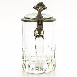 Antique Lidded Cut Glass Mug German Beer Stein Inlaid Lid Joke 1900