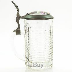 Antique Lidded Cut Glass Mug German Beer Stein Inlaid Lid The King 1900's