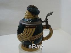 Antique M&W Stoneware Character German Beer Stein Merkelbach Wick FALSTAFF #258