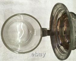 Antique Marked 2-1-1901 Glass and Pewter German Beer Stein Tankard