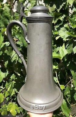Antique Massive Pewter Tankard German Beer Stein 14 1/8 Tall