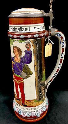 Antique Matthais Girmscheid Large German Beer Stein 947 Three Young Men 3.0 L