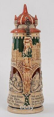 Antique Matthias Girmscheid 2.0L German Beer Stein #908 Woman Drinkingl c. 1900
