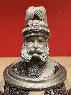 Antique Merkelbach & Wick EMPEROR WILHELM I Character Figural German Beer Stein