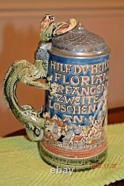 Antique Mettlach 1786 St. Florian Etched German Beer Stein, H. Schlitt, Dtd 1900