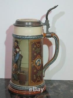 Antique Mettlach 1L German Beer Stein Drunken Landsknechte #2500