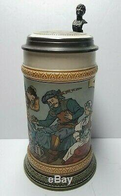 Antique Mettlach 1/2L German Beer Stein Gamblers Stein #2441 Dated 1903