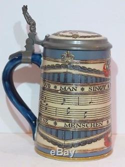 Antique Mettlach 1/2L German Beer Stein In Praise of Song #2097 Mint 1894