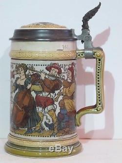 Antique Mettlach 1/2L German Beer Stein Strolling Musicians #2094 Mint