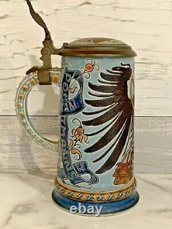 Antique Mettlach 1/2 L GERMAN POSTAL EAGLE Beer Stein 1856 RARE Mint