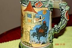 Antique Mettlach 2382 Etched German Beer Stein H. Schlitt, Dated 1898