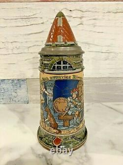 Antique Mettlach 2382 Thirsty Knight Rider Stein. 5l German Beer Stein