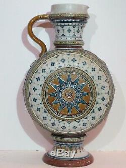 Antique Mettlach 2.5L Etched Mosaic German Beer Stein Dodecagram #1569