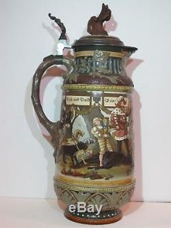 Antique Mettlach 5.2L German Beer Stein #2205 Hunters and Diana Drinking 18.5