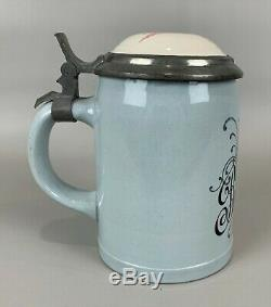 Antique Mettlach Bartholomay Rochester NY German Beer Stein w Original Lid, NICE