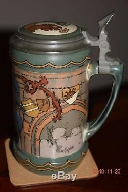 Antique Mettlach Etched German Beer Stein, Cavalier, Inlay, Signed Hein. Schlitt
