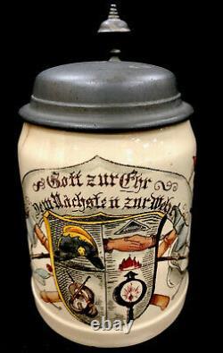 Antique Mettlach German Beer Stein 1526/604 Fire Brigade Symbols. 5L Villeroy
