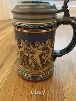 Antique Mettlach German Beer Stein #2025 Cherubs Drinking