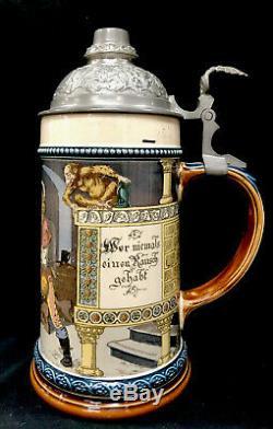 Antique Mettlach German Beer Stein 2271 1055.5L Old German Drinker Barrel