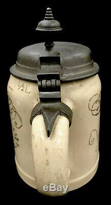 Antique Mettlach German Beer Stein. 5L 1526 Lovers With Saying Villeroy & Boch