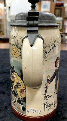Antique Mettlach German Beer Stein. 5L 1909/732 Three Kinds Of Inebriation V&B