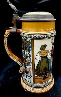 Antique Mettlach German Beer Stein. 5 L 1655 Schuhplattler Etched Dance Scene