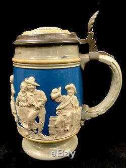 Antique Mettlach German Beer Stein. 5 Liter 2086 Peasant Dance Villeroy And Boch