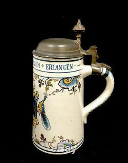 Antique Mettlach German Beer Stein Coat Of Arms 1/2 Liter 5001 Villeroy & Boch