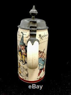 Antique Mettlach German Beer Stein Gnomes Bowling 1/2 Liter 1909 Villeroy & Boch