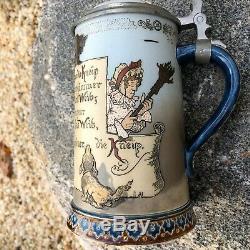 Antique Mettlach German Beer Stein Made 1892 Etched # 2090