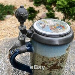 Antique Mettlach German Beer Stein Made 1893, Etched Inlayed Lid #2083 Hunting
