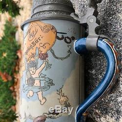 Antique Mettlach German Beer Stein Made 1896 Etched # 2089 Angel serving beer