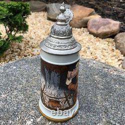 Antique Mettlach German Beer Stein Made in 1906 Etched # 2922 Campfire Scene