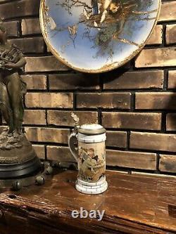 Antique Mettlach German Beer Stein Stoneware Etched 2880 Comical Scene Exc Con