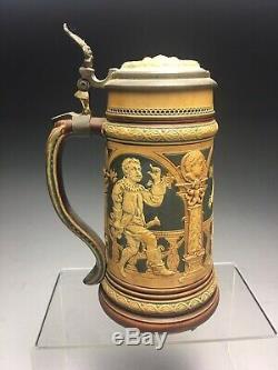 Antique Mettlach German Stoneware Beer Stein Pub Scene 2161