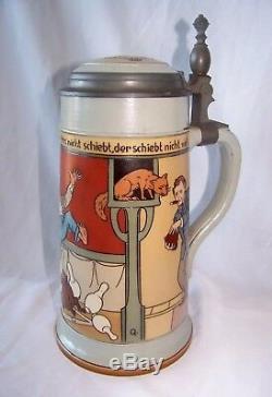 Antique Mettlach German Stoneware Lidded Beer Stein # 2959 / 1.0L Bowling Scene