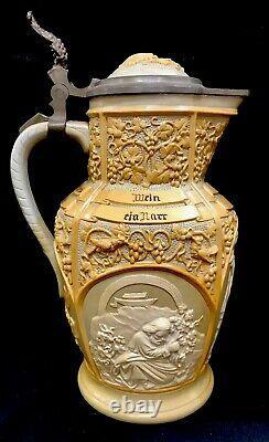 Antique Mettlach German Villeroy & Boch Beer Stein Pitcher #6 Wohl Bekomms