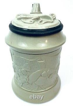 Antique Mettlach & King Gambrinus REPAIRED Relief German Beer Stein lot