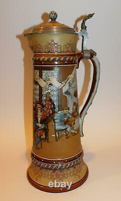 Antique Mettlach Lidded Etched Beer Stein 2206. 3 liter. German Tavern Scene