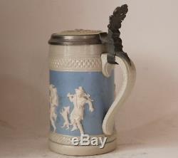 Antique Mettlach V&B German Beer Stein #171 Relief Dancing Scenes 0.5L c. 1880s