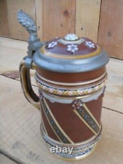 Antique Mettlach V&B German Beer Stein No 1938 Rosette Pattern Inlaid Lid c. 1916