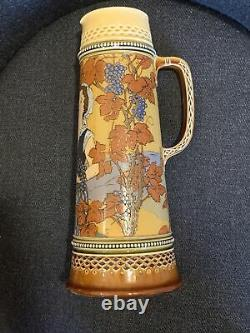 Antique Mettlach Villeroy & Bach 2682 German Beer Stein Pitcher Woman with Grapes