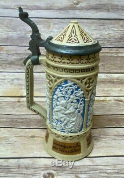 Antique Mettlach Villeroy & Boch 228 Song Celebration Blue German Beer Stein Big