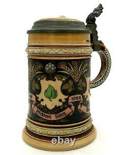 Antique Mettlach Villeroy & Boch Beer Stein 1394.5L German Cards 1898