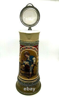 Antique Mettlach Villeroy & Boch Beer Stein 2430 3L Old German Drinker 1899