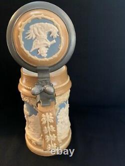 Antique Mettlach Villeroy & Boch Beer Stein #812 Blue Cameo Hunter German 1/2L