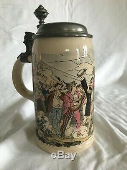 Antique Mettlach Villeroy&Boch German Beer Stein 1909 Party Theme 1/2L