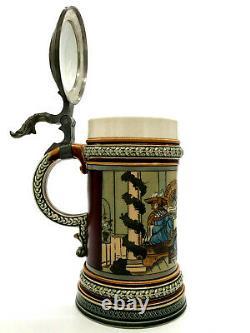 Antique Mettlach Villeroy Boch German Beer Stein 2005 Table Companions 1/2L 1891