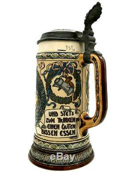 Antique Mettlach Villeroy Boch German Beer Stein 2716 Drinkers With Saying c1900